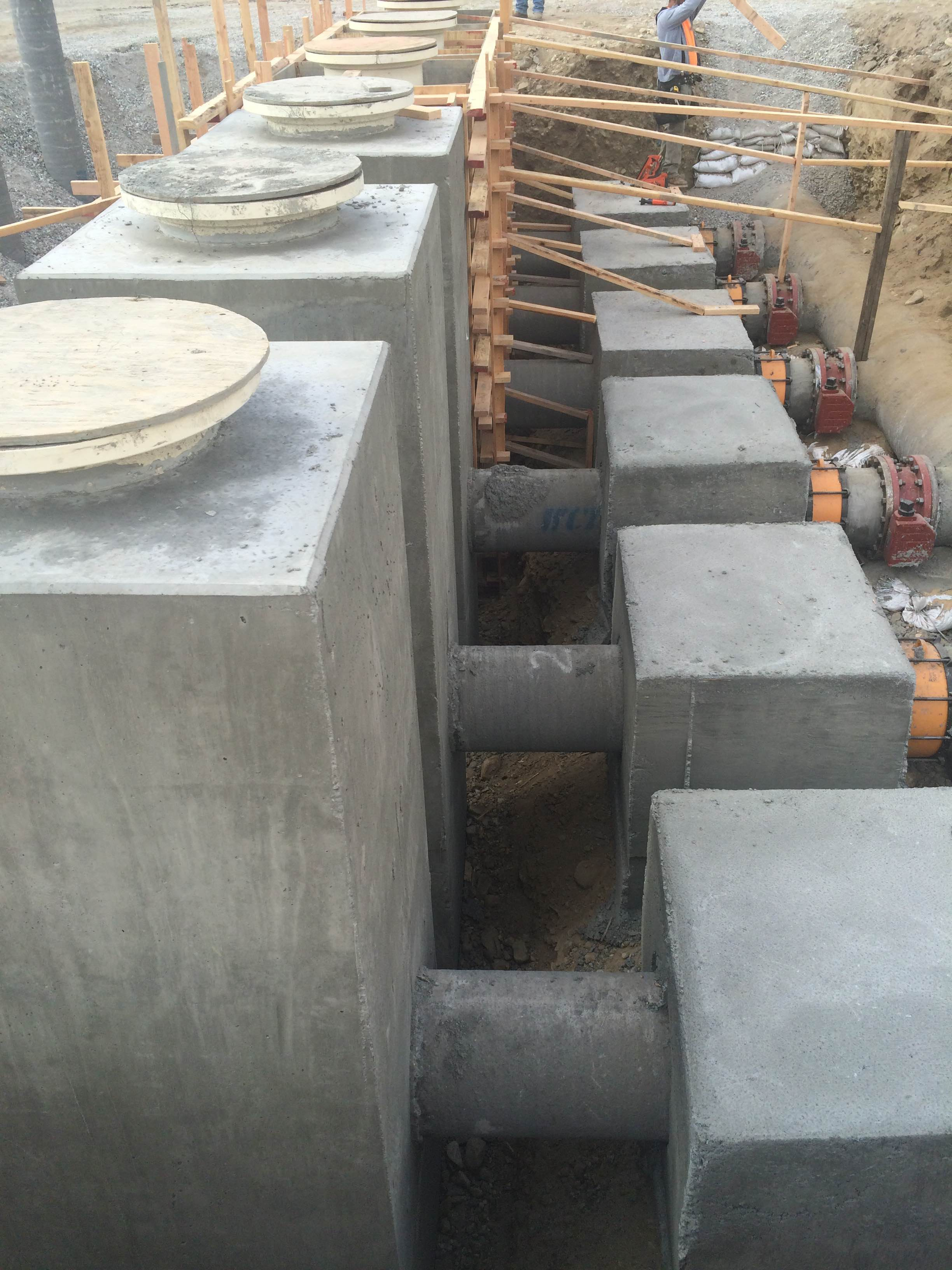 We built the concrete encasements for these water treatment plant pumps