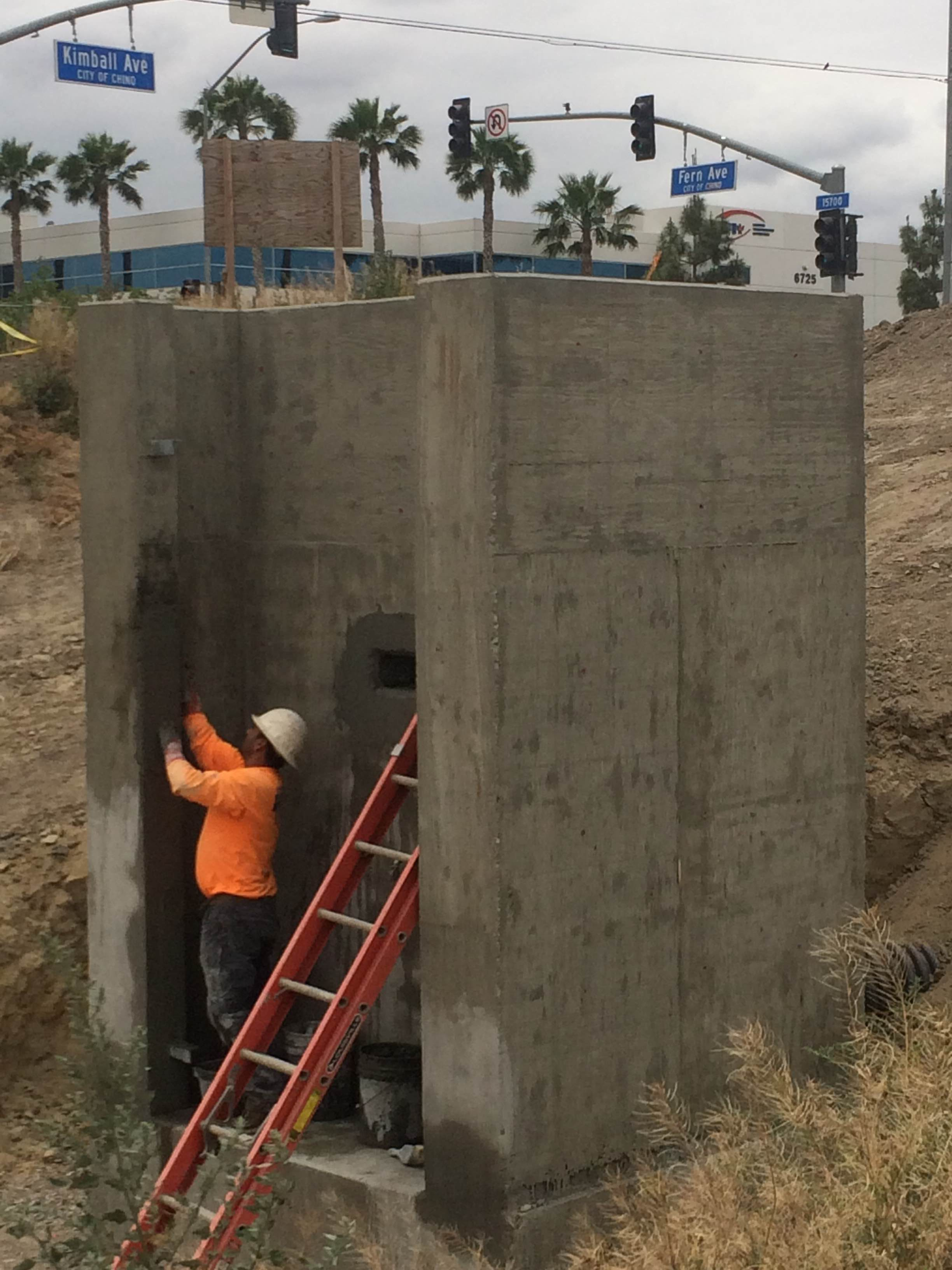 We built this storm drain outlet structure for the city of Chino