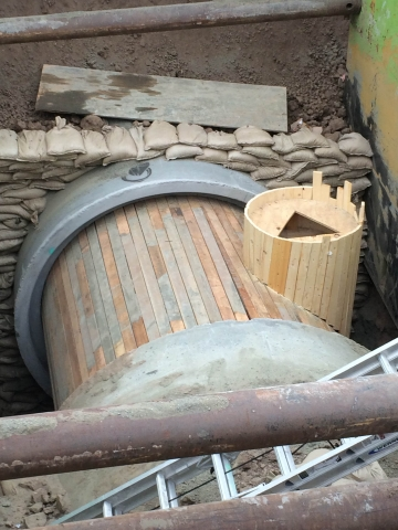 We built this manhole for a 96 inch storm drain pipe