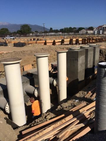 We built the concrete encasements for these water plant pumps